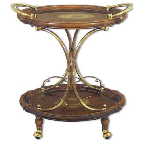 Сервировочный столик на колесиках из дерева и латуни - фото