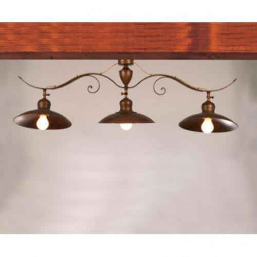 Потолочная люстра на 3 лампы с металлической тарелкой - фото