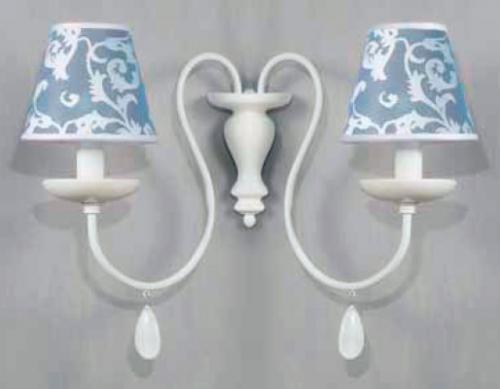 Бра на две лампочки с голубыми абажурами - фото