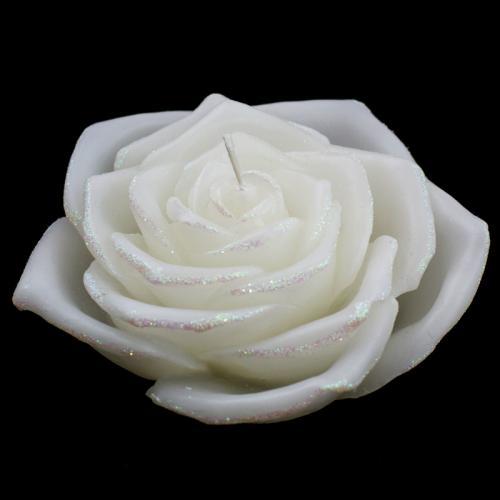 Большая свеча в виде белой розы - фото