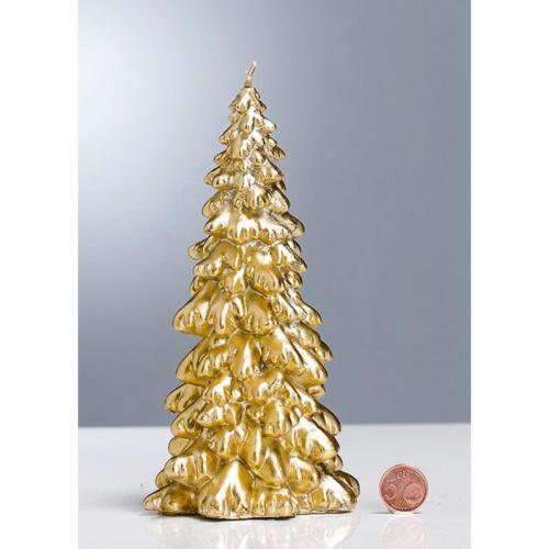 Высокая золотистая свеча в виде новогодней елочки - фото