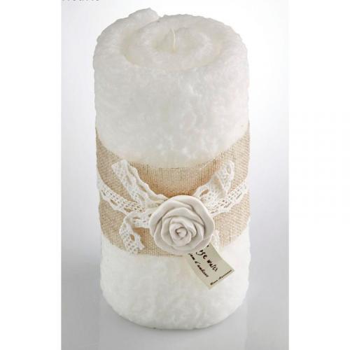 Свеча для ванной в виде полотенца с ароматом розы - фото