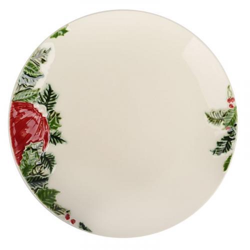 "Тарелка обеденная круглая ""Новогоднее чудо"" бежевого цвета Bordallo - фото"