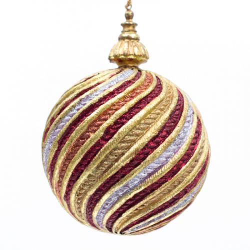 Новогодняя игрушка из стекла с текстильным декором - фото