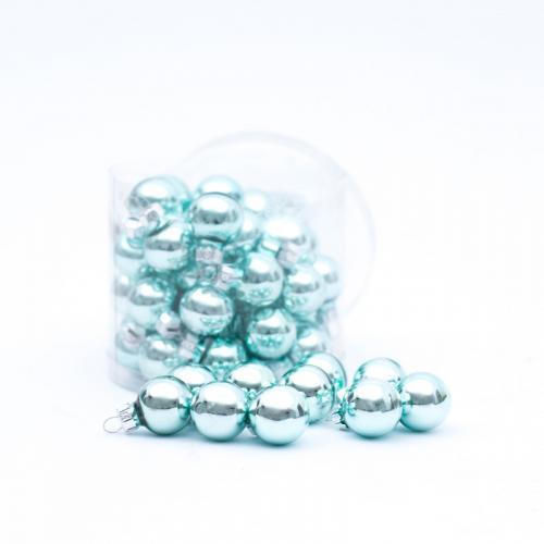 Набор глянцевых новогодних игрушек цвета аквамарин - фото