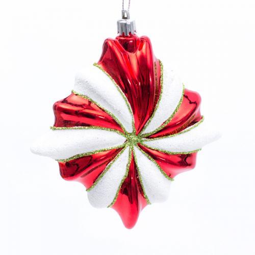 Новогодняя стеклянная игрушка в форме звезды - фото