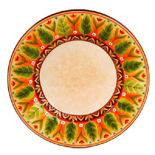 Тарелка обеденная с растительным узором ручной работы - фото
