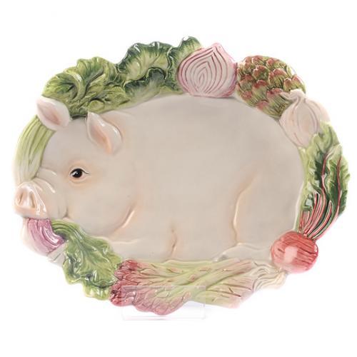 Тарелка керамическая в виде свинки - фото