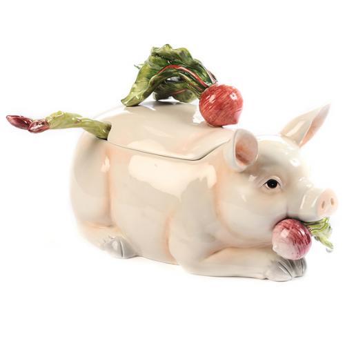 """Супница с крышкой и половником из коллекции """"Свинки с овощами"""" - фото"""