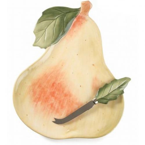 Блюдо в форме груши с ножом в комплекте - фото