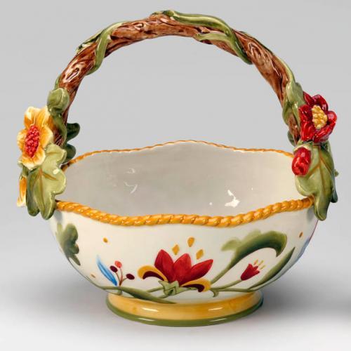 Конфетница керамическая глубокая с цветочным орнаментом - фото
