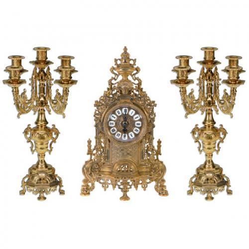 Набор из часов и 2-х канделябров на 5 свечей из латуни цвета античное золото - фото