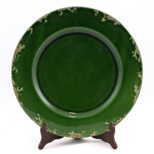 """Подставное керамическое блюдо изумрудного цвета с ручной росписью """"Помпеи"""" - фото"""