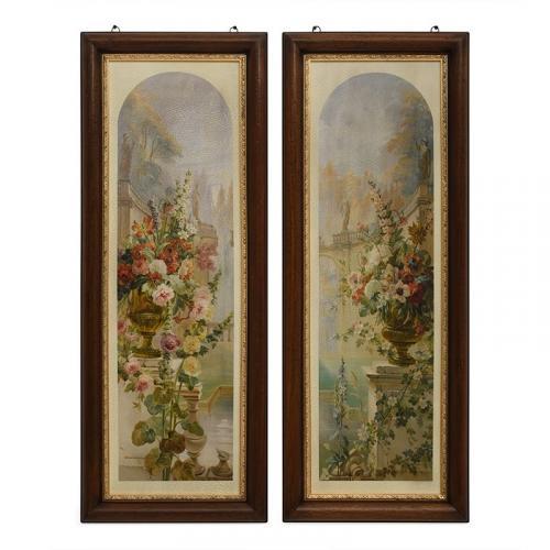 """Набор из 2-х картин с деревянной рамой """"Цветы"""" - фото"""