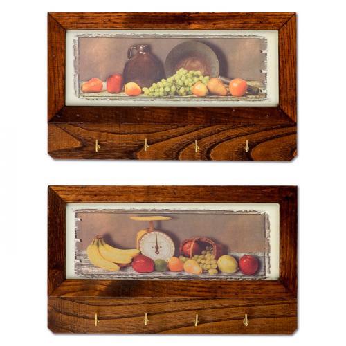Крючки для полотенец на деревянной доске с принтом - фото