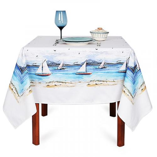 """Хлопковая скатерть с тефлоновой пропиткой """"Морской ветер"""" Villa Grazia Premium - фото"""