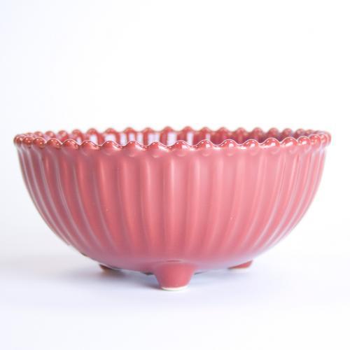 Глубокая красная пиала с рельефной поверхностью Pearl - фото