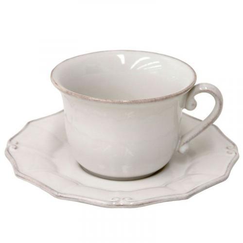 Белая чашка с блюдцем Barroco - фото