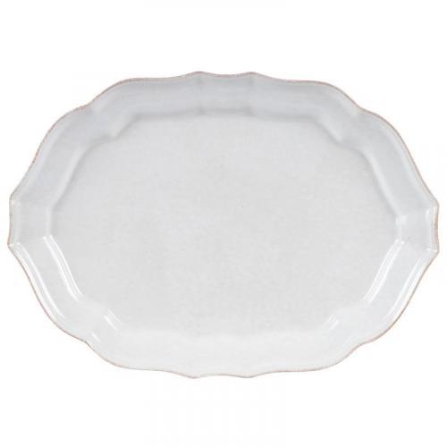Блюдо для рыбы овальное из керамики белое Impressions - фото