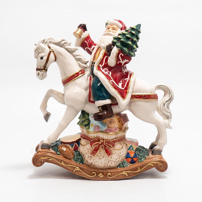 Музыкальная керамическая статуэтка в рождественском стиле «Дед Мороз на коне» - фото