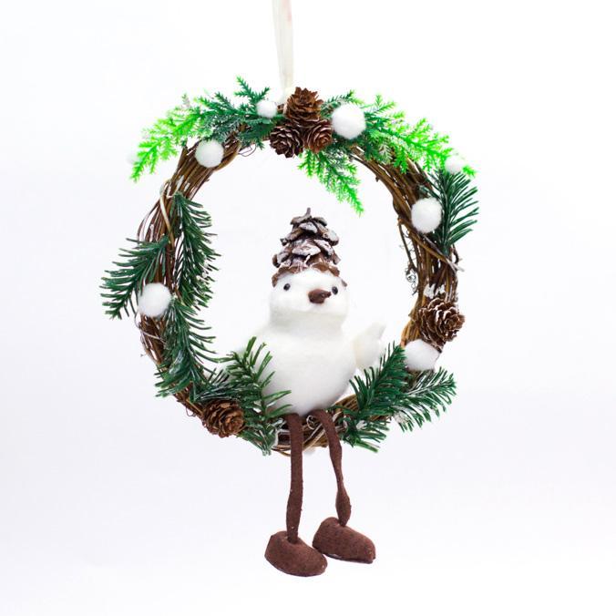 Небольшой рождественский венок с фигуркой птички - фото
