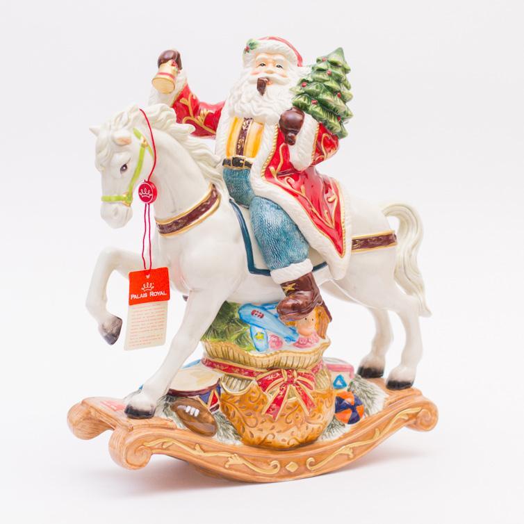 Музыкальная шкатулка Санта на лошадке - фото
