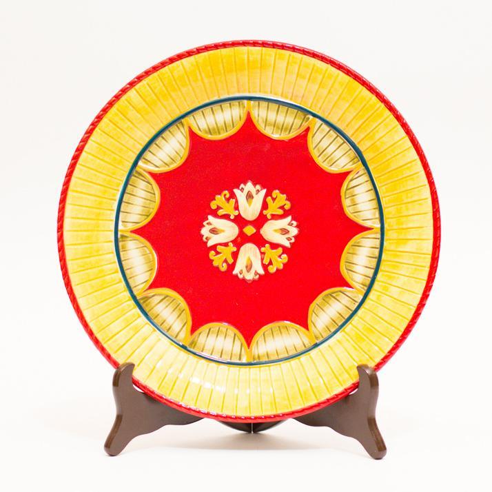 Тарелка подставная новогодняя желто-красного цвета - фото