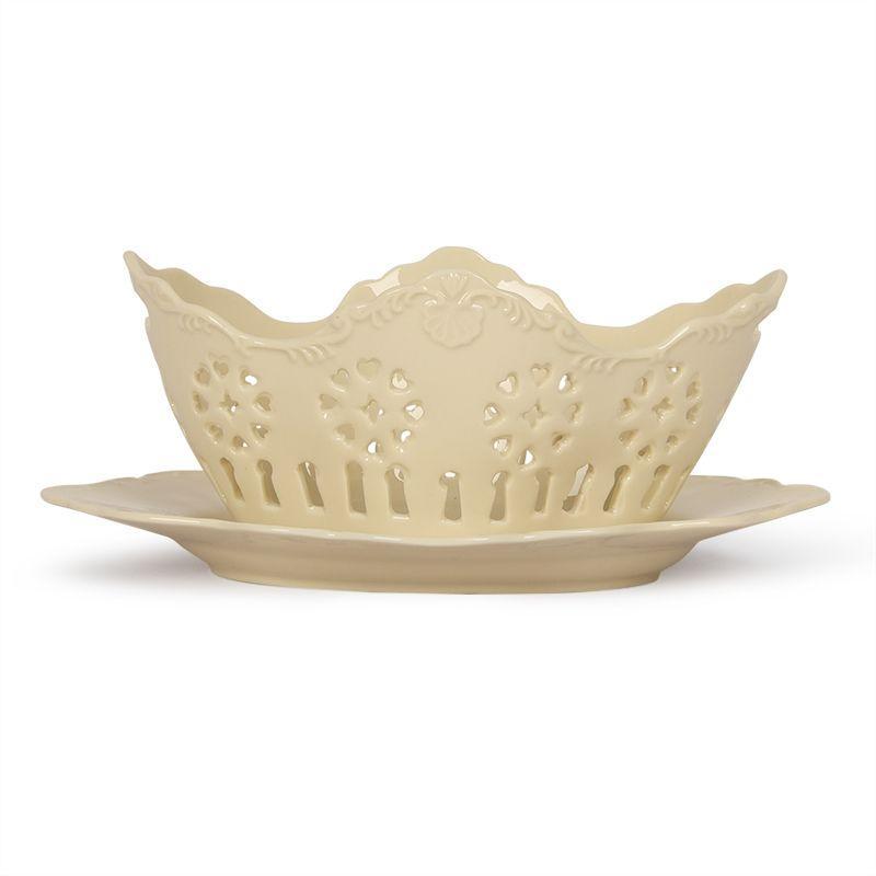 Фруктовница со сквозным орнаментом с тарелкой Crema - фото