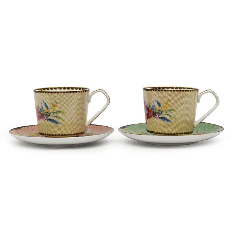 Набор из 2-х фарфоровых чайных чашек с блюдцами Ete Savage - фото