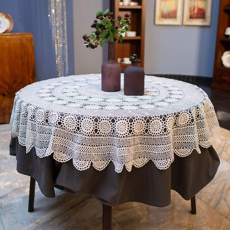 Круглая белая скатерть из вязаного хлопкового кружева «Ажур» - фото