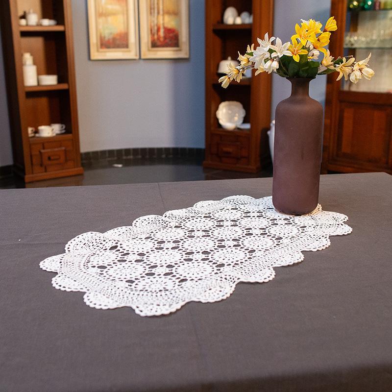 Белая салфетка машинного вязания из натурального хлопка «Ажур» - фото