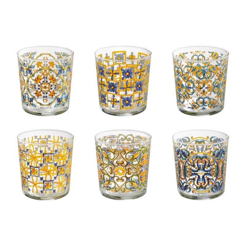 Набор из 6-ти стеклянных стаканов с этничным узором Medicea - фото