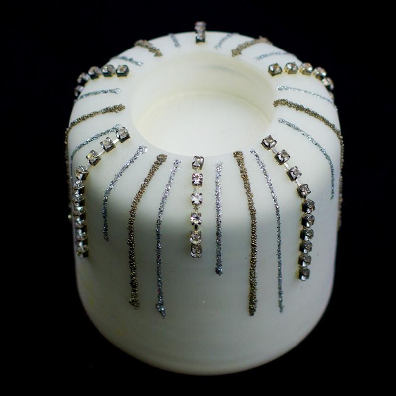 Подсвечник белый цилиндрический под свечу-таблетку - фото