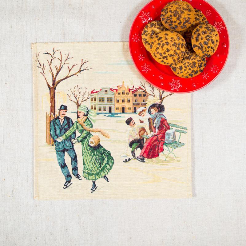 """Гобеленовая салфетка с рисунком """"Зимнее Свидание""""  - фото"""