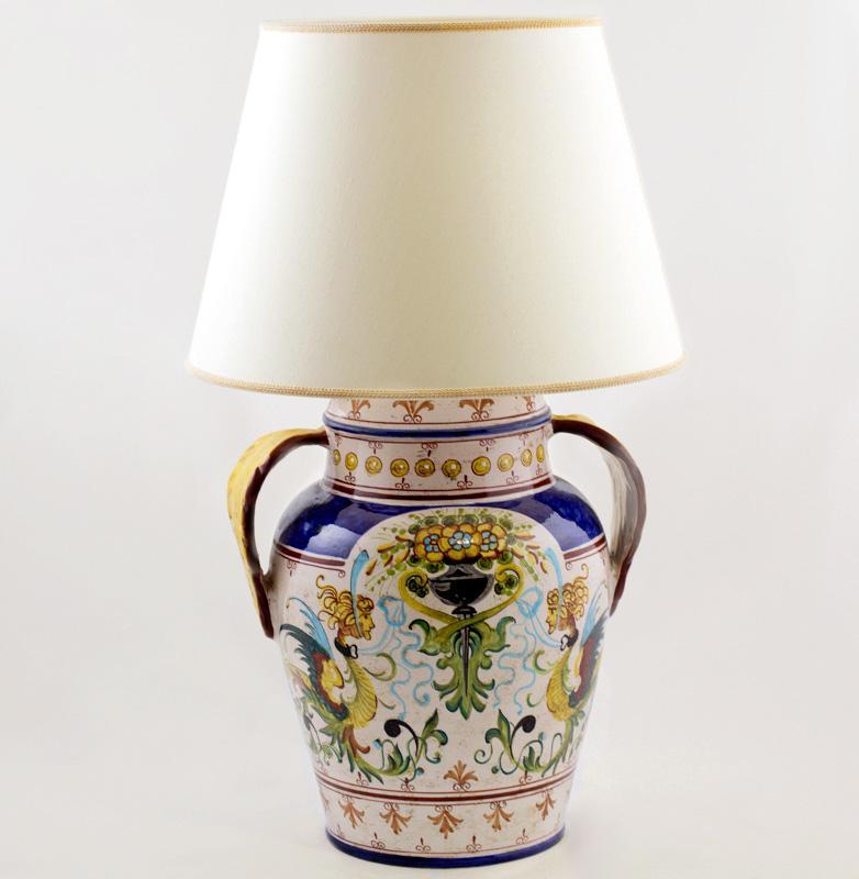 Лампа настольная керамическая ручной росписи - фото