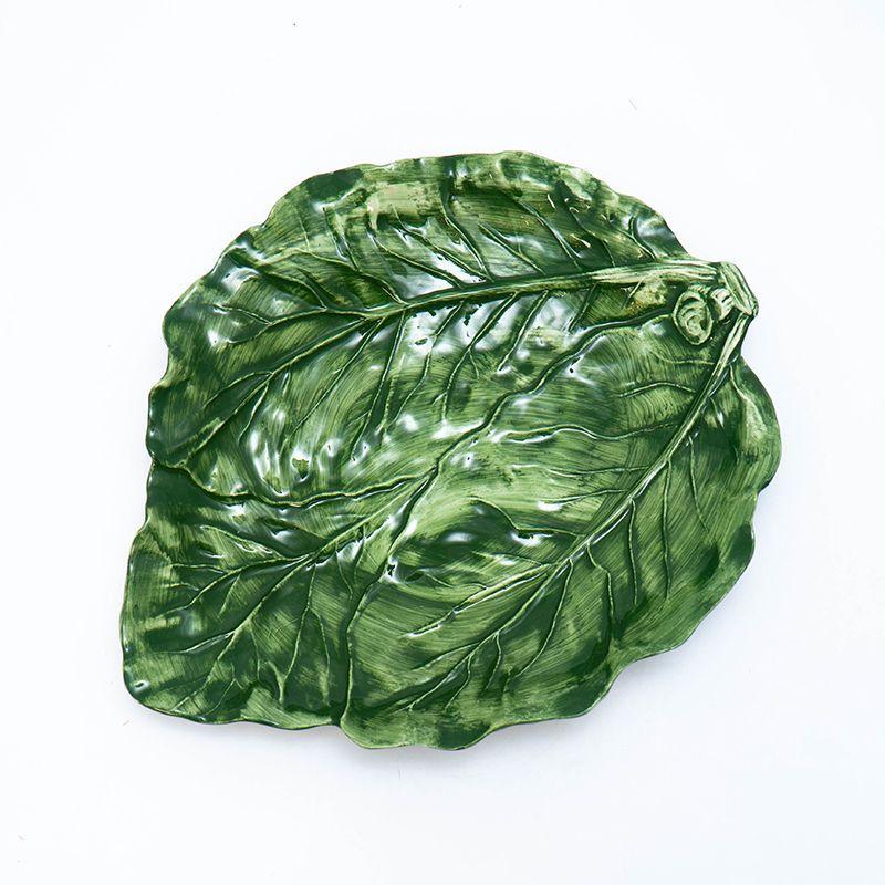 """Зеленое керамическое блюдо """"Капуста"""", посуда для сервировки Mastercraft - фото"""
