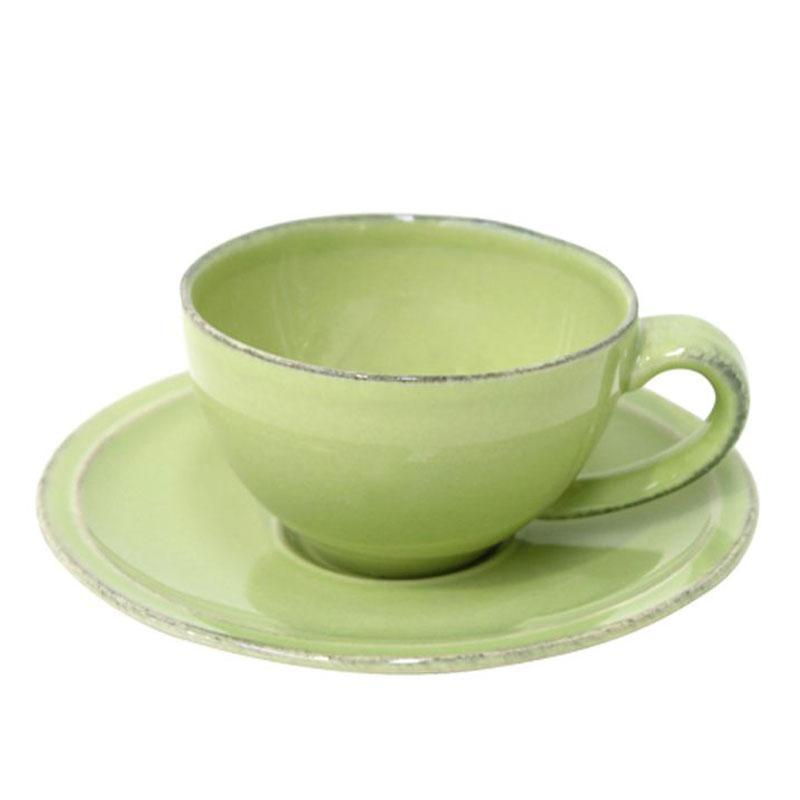 Чашки с блюдцем зелёные для кофе, набор 6 шт. Friso - фото