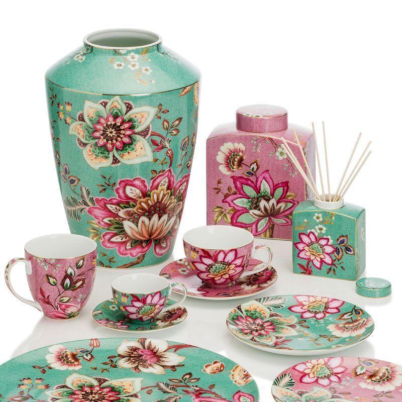 Коллекция фарфора с цветочным рисунком в розово-бирюзовой палитре Fleurs - фото