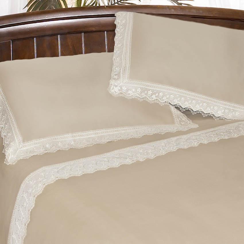 Комплект постельного белья из натурального хлопка цвета кофе с молоком Latifah - фото