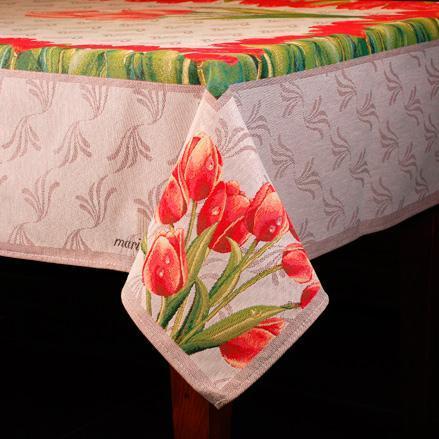 """Прямоугольная гобеленовая скатерть с цветочным рисунком """"Тюльпаны"""" - фото"""