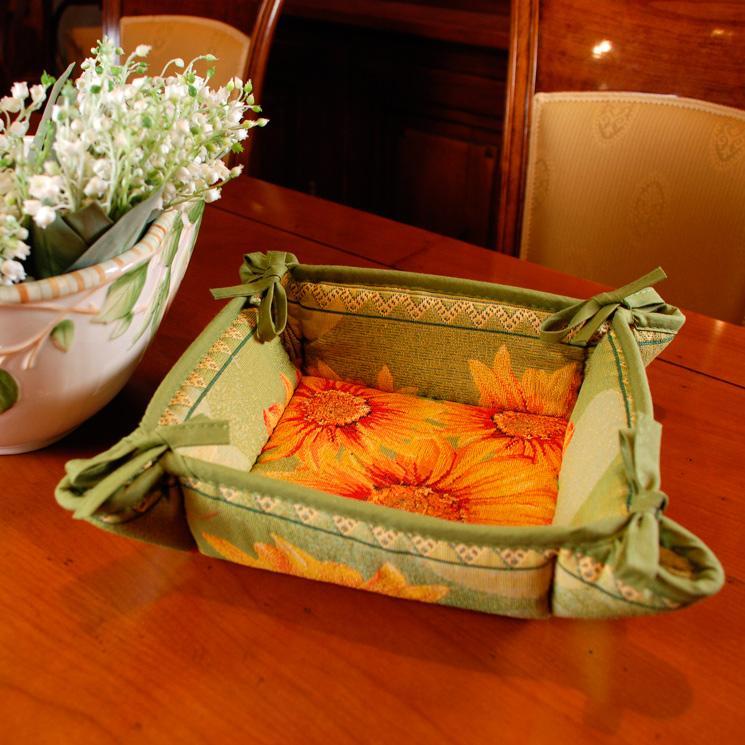 "Гобеленовая корзинка для хлеба ""Подсолнухи"" - фото"