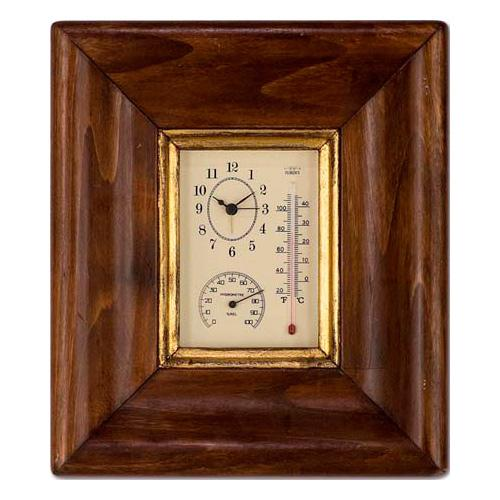 Часы с термометром и гидрометром под стеклом - фото