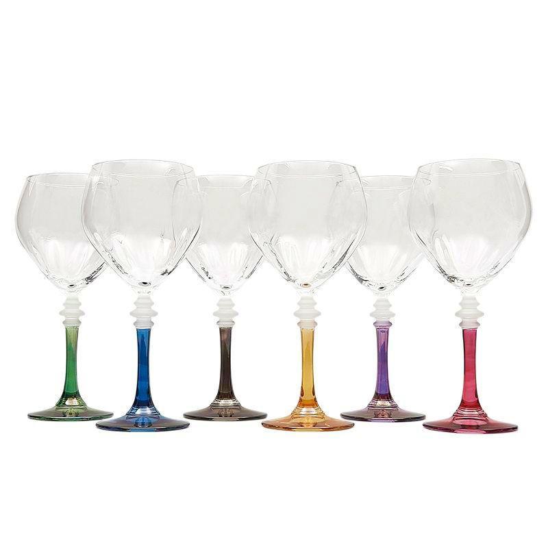 Набор бокалов для воды на разноцветных ножках, 6 шт  - фото