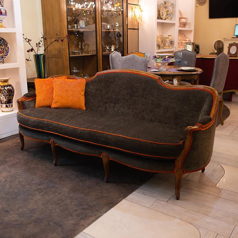 Трехместный диван из натурального дерева Luis XV - фото