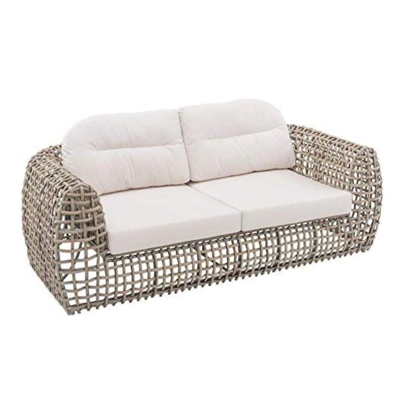Большой 2-местный диван из серого ротанга Dynasty