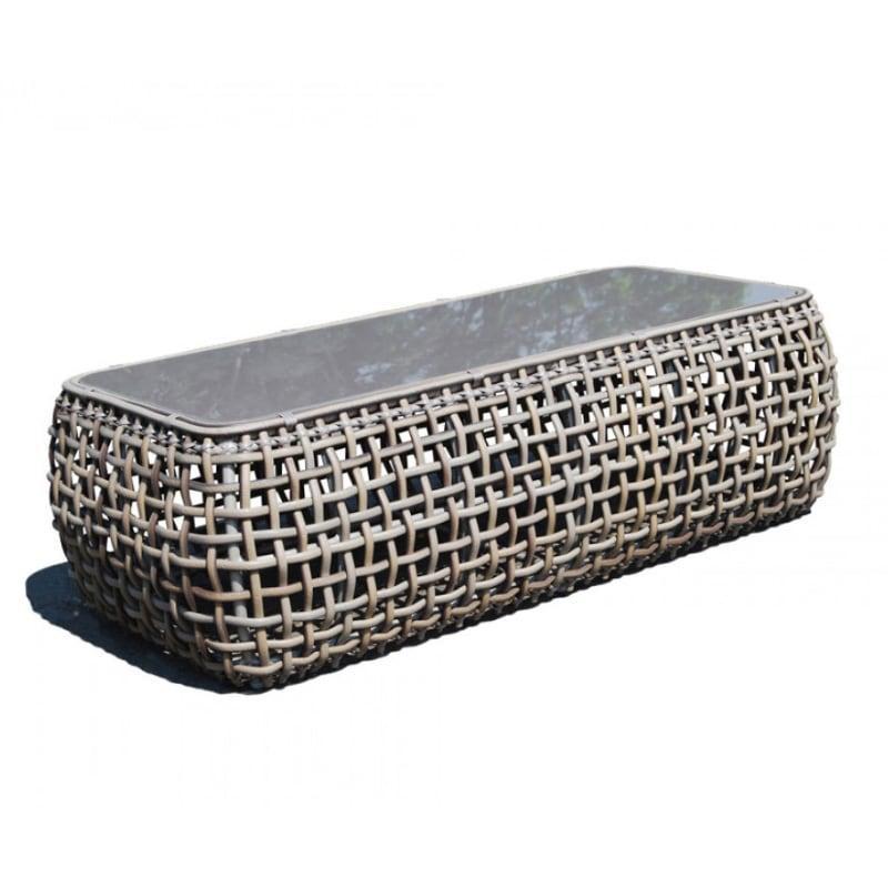 Серый журнальный столик из искусственного ротанга Dynasty