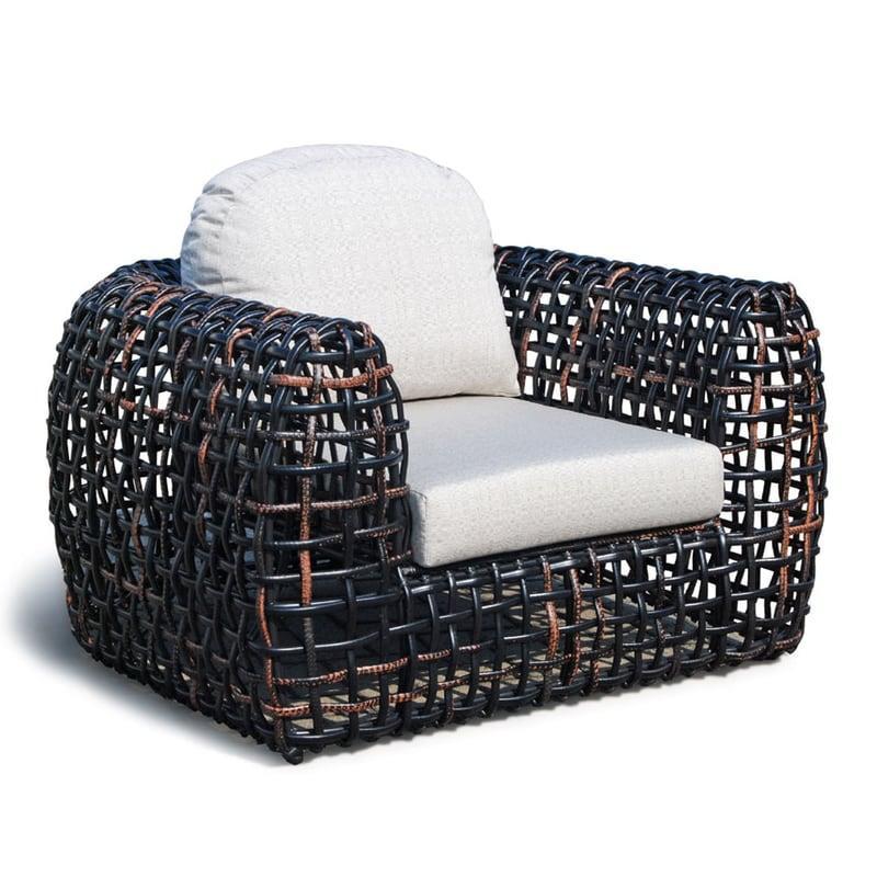 Кресло с плетеной основой из темного техноротанга Dynasty