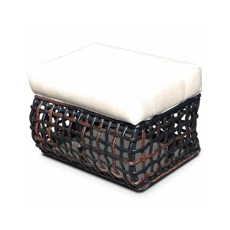 Пуф темный с плетеной основой из техноротанга Dynasty