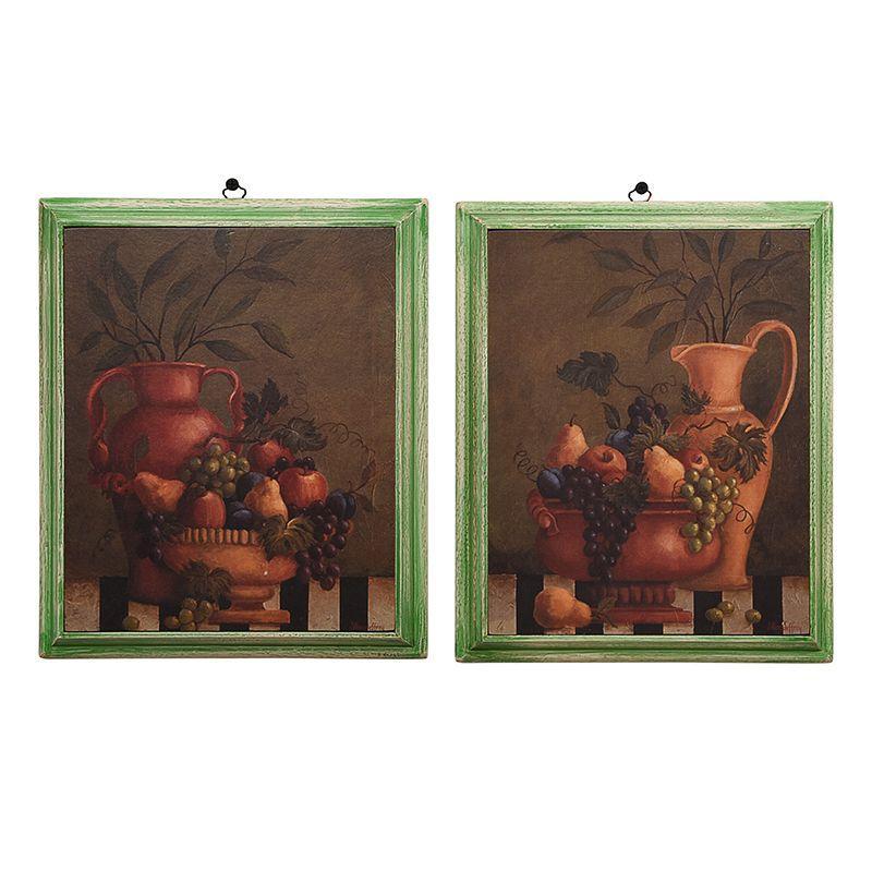 """Набор из 2-х картин в зеленом обрамлении """"Натюрморт"""""""