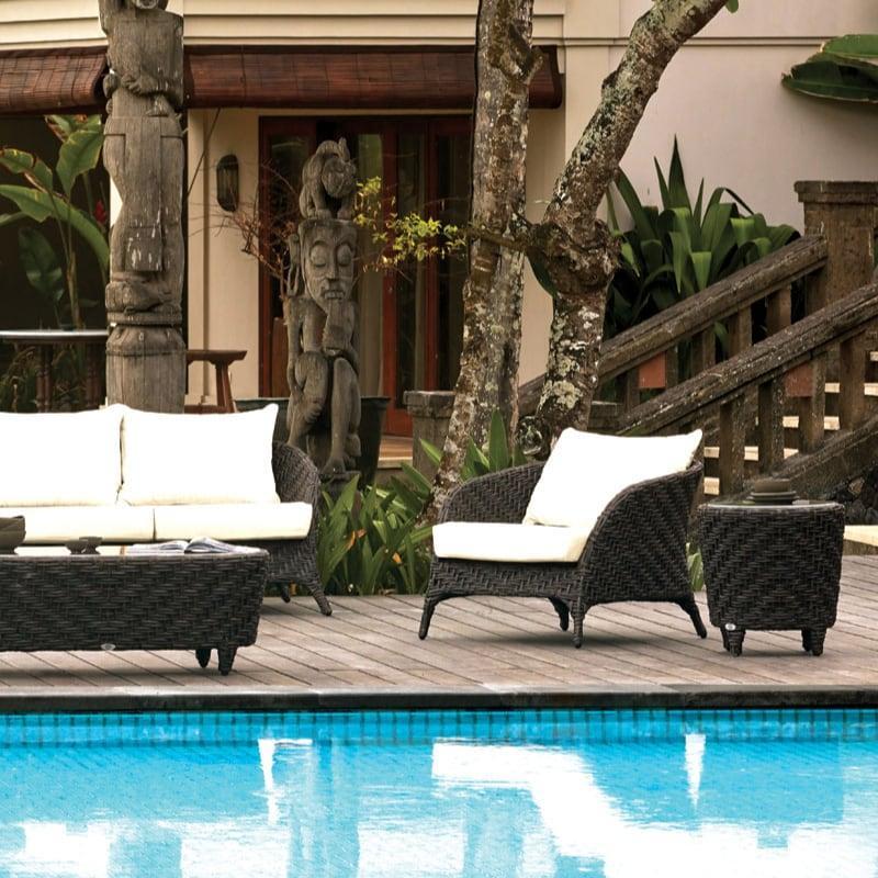 Кресло для отдыха с плетением из темного ротанга Celeste